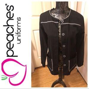 Black scrub jacket with white detail